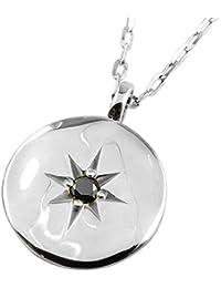 [ジュエリーアイ] メンズ ネックレス 一粒 ブラックダイヤモンド 18金 ペンダント 太陽 モチーフ ホワイトゴールドK18 K18WG
