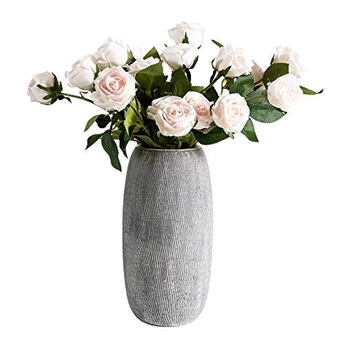 アクロバット考慮第二に灰色の網状静脈セラミック花瓶、北欧スタイルのシンプルな円筒形容器、手作りのデスクトップ植物ポット、花、フラワーアレンジメント、ホームデコレーション用。