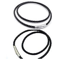 Wetieyi Mens Double Circle Bangle Weaving Leather Wristband Bracelet (Black)