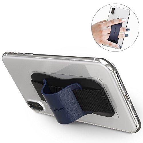 Sinjimoru スマホ スタンド ストラップ、片手で操作できる スマホ ホルダー iPhone アンドロイド 落下防止 ハンドストラップ、Sinji Grip ネービー。