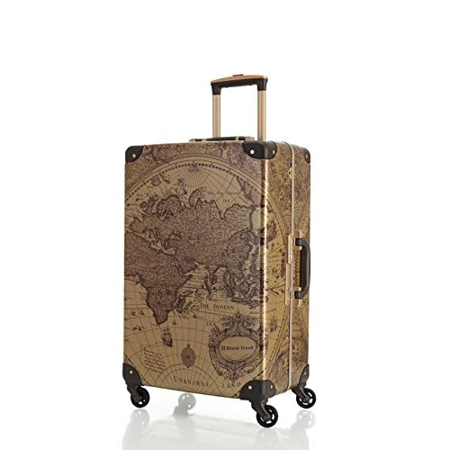 [ワールドトランク] スーツケース  保証付 55L 60cm 4.4kg 7500-60 BR-MAP ブラウン地図柄