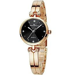 Smalody 女性のためのブランドの豪華な腕時計ファッションステンレス鋼の高品質の宝石の腕時計女性のアナログクォーツの腕時計のドレス時計 (ブラック)