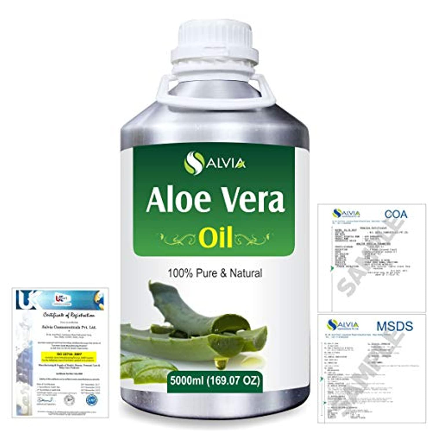 獲物クリックフライカイトAloe Vera 100% Natural Pure Undiluted Uncut Carrier Oil 5000ml/169 fl.oz.