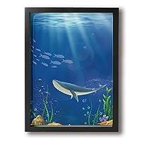 SDM-HK クジラ 海 動物絵 絵 絵画 パネル インテリア アート 壁掛け ポスター ART 雑貨 飾り グッズ 新築祝い プレゼント グッズ キャンバス フレーム アートフレーム Black