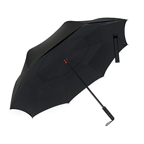 WloveTravel 逆さ傘 逆折り式傘 直柄反転傘 ビジネス用車用 二重傘撥水 自立式&便利な旅行傘 (ブラック)