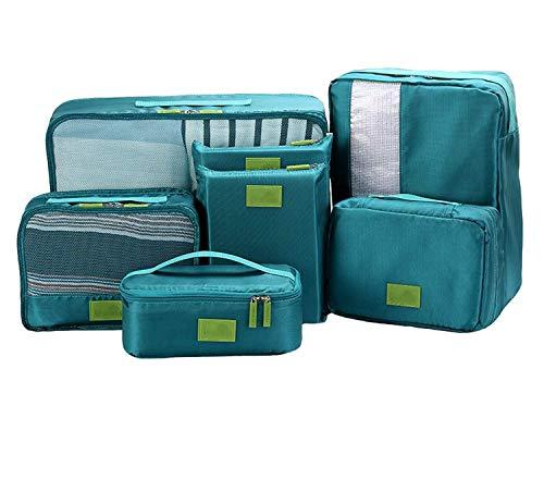 トラベルポーチ アレンジ ケース 7点セット 4色 から選べる | 旅行 出張 収納 小分け バッグインバッグ 衣類 スーツケース インナーバッグ 靴収納 シューズケース 洗面 ポーチ 小物 アメニティ 防水 ハンガー トランク (グリーン)