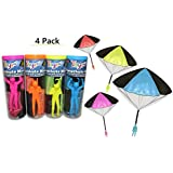 4 Pack Tangle Free Throwing Toy Parachute Man with Large 20 Parachutes! Blue Orange Pink and Yellow