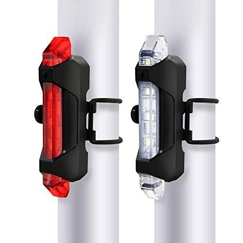ziyueセーフティーライト 自転車 usb充電式 高輝度ledフロントライト&テールライト 防水 4点灯モード 夜間走行の視認性をアピール 警告灯 (レッド & ホワイト)