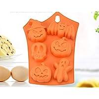 ハロウィンシリコンケーキ金型 -6-cavity Bat Pumpkin Faceハロウィンキャンディ/アイス/ケーキ/チョコレート – パーティ/Soap/マフィンベーキングケーキ型 ーSupplies with Pumpkins Skulls CrossbonesゴーストBats