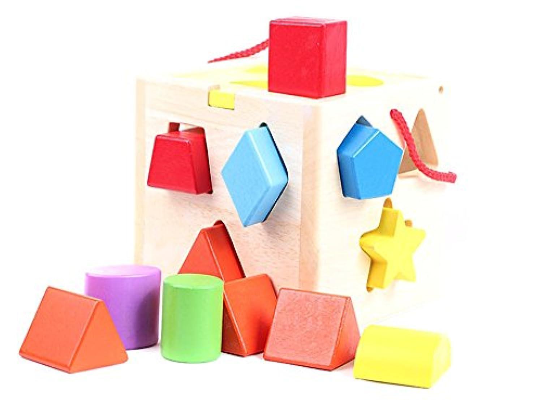 木製ジオメトリ形状、一致する、12穴インテリジェンスボックス、おもちゃ幼児子、ブロック、パズル、早期子供のおもちゃ
