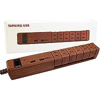 Fargo エレガントなデザイン、魅惑的な木目調ダークウッド 電源タップ 回転 延長コード ケーブル 国内サポート対応 1年保証付 3.4A USB 急速充電 AC6個口 1.8m PT601DW