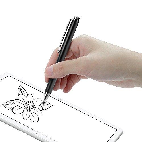 『Coziwo タッチペン 極細 2in1 スタイラスペン 1本+交換用ペン先3個 スマートフォン ipad タブレット iphone android スマホ 対応 イラスト ツムツム ゲーム 絵描き用(ブラック)』の1枚目の画像