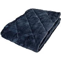 毛布 敷きパッド ダブル 冬 あったか 無地 ネイビー フランネル 140×205cm 四隅ゴム付き