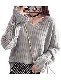 [エムズ モア] ゆったり ニット vネック 袖 リボン 春 冬 服 レディース オフホワイト グレー ブラウン S~L