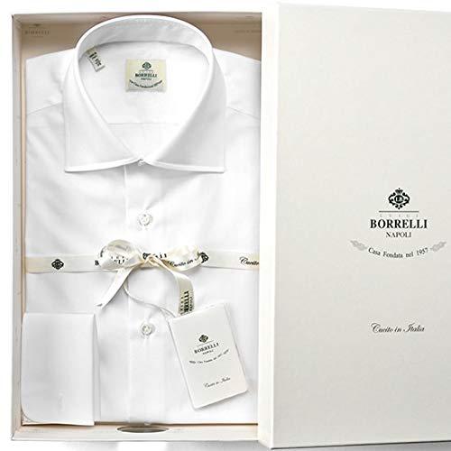 ルイジボレッリ ルイジボレリ LUIGI BORRELLI / 【通年定番品】 コットンポプリンダブルカフスセミワイドカラーシャツ『LUCIANO(10605)』 (ホワイト) 42 メンズ