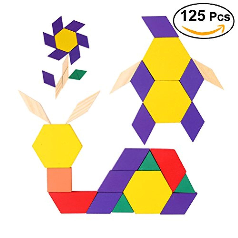toymytoy 125pcs木製パズルブロックおもちゃ教育玩具ゲーム