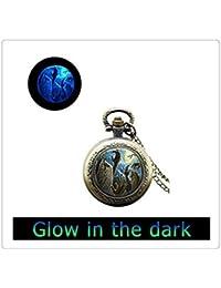 ハロウィーンのポケットネックレスガラスタイル懐中時計ネックレスハロウィンポケットウォッチジュエリー休日の懐中時計ジュエリーを見ます