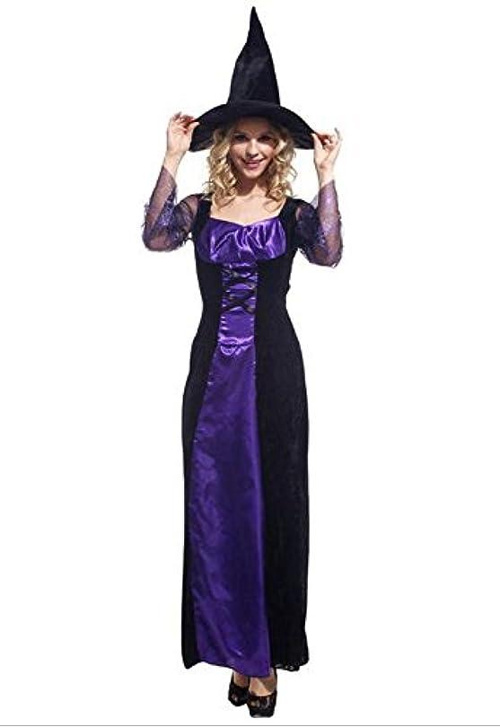 バッグ謙虚便宜【osharemart】 魔女 ロングドレス コスプレ ハロウィン 衣装 大人 紫 (魔女 パープル)
