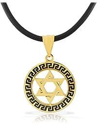 Stainless Steel Yellow Gold-Tone Black Greek Key Jewish Star of David Men's Boys Pendant Necklace