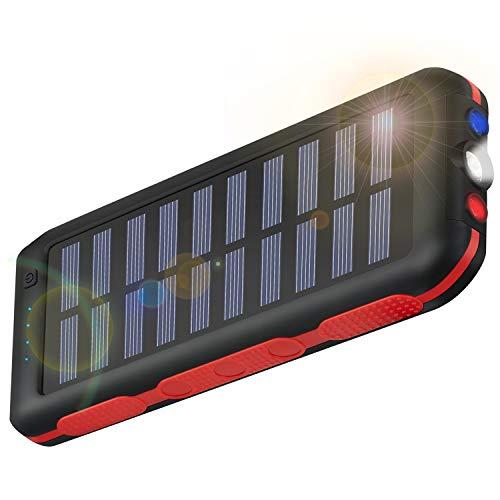 CXLiy モバイルバッテリー ソーラーチャージャー 大容量急速充電器 25000mah PSE認証済 防水が実現 高輝度L...