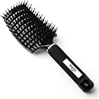 Baasha 猪毛 ヘアブラシ ヘアケアブラシ ベントブラシ スタイリング ブラシ ソフト 静電気防止 大きい 髪 ブラック