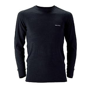 (モンベル)mont-bell スーパーメリノウールM.W.ラウンドネックシャツ Men\'s ブラック(BK) L 1107235