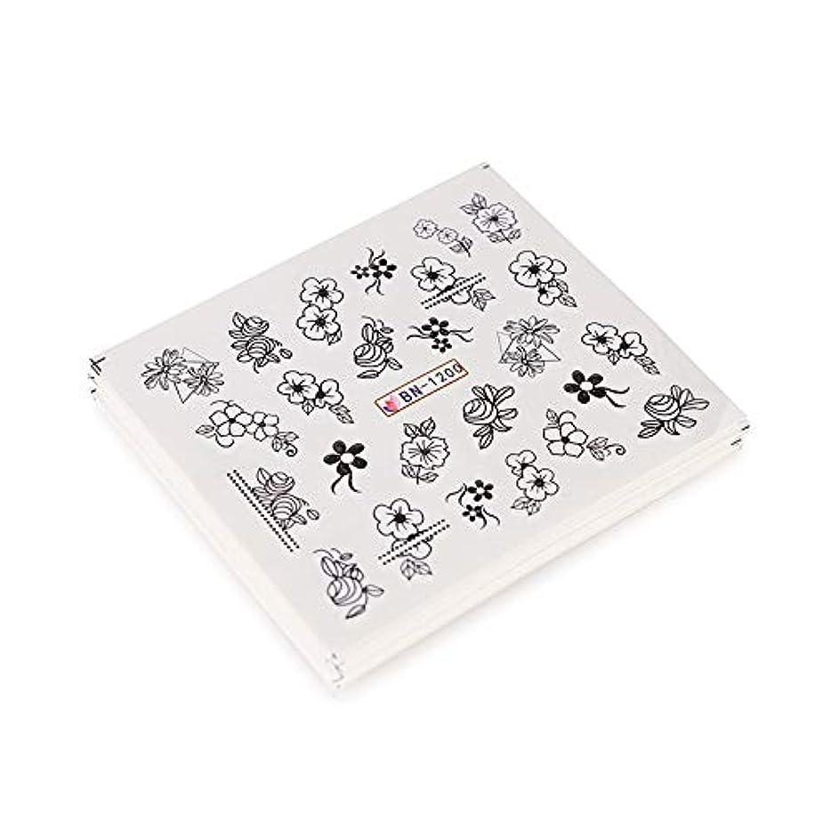 アクセル取り壊す真珠のような24枚ネイルアートステッカーネイルアートデカール水転写ラップネイルアート装飾黒花カラフルなインク鳥混合デザイン