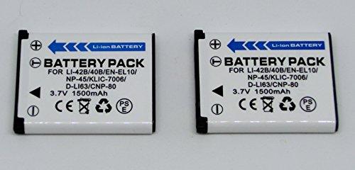 【公称1500mAh】2個セット オリンパス LI-40B LI-42B コダック KLIC-7006 互換バッテリー