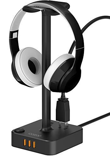 ヘッドホンスタンドUSB充電器COZOOデスクトップゲームヘッドセットホルダ...
