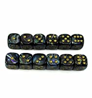 WCX27899E12 Shadow Lustrous Dice with Gold Pips D6 12mm (1/2in) Chessex