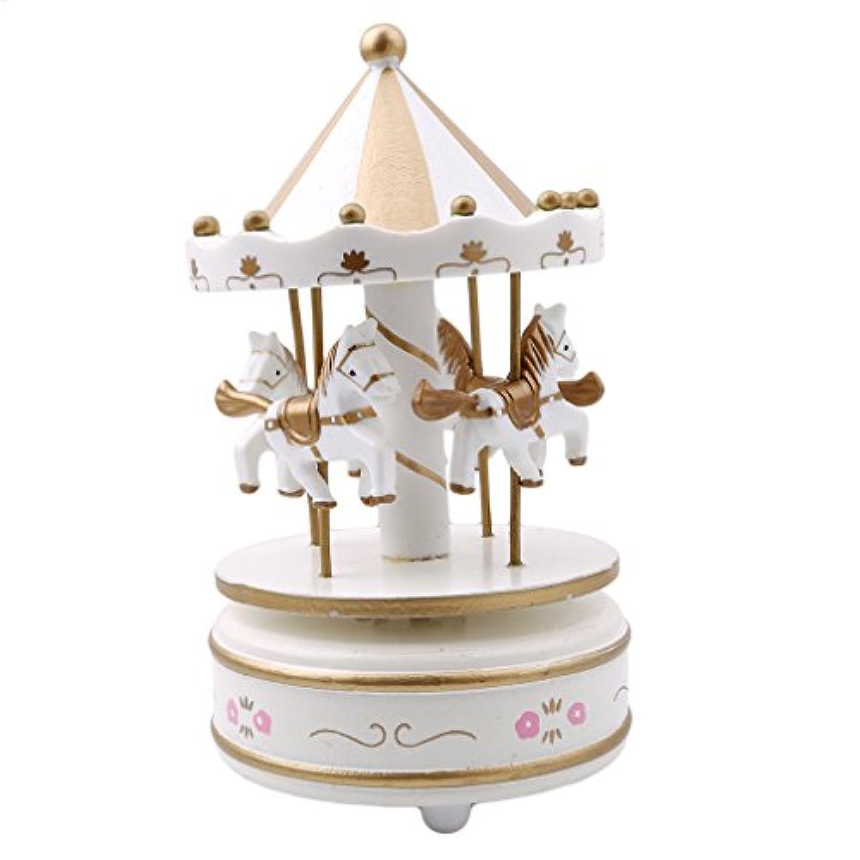 HSホワイトカルーセル馬音楽ボックス木製回転城ガールズクリスマスギフトホーム装飾
