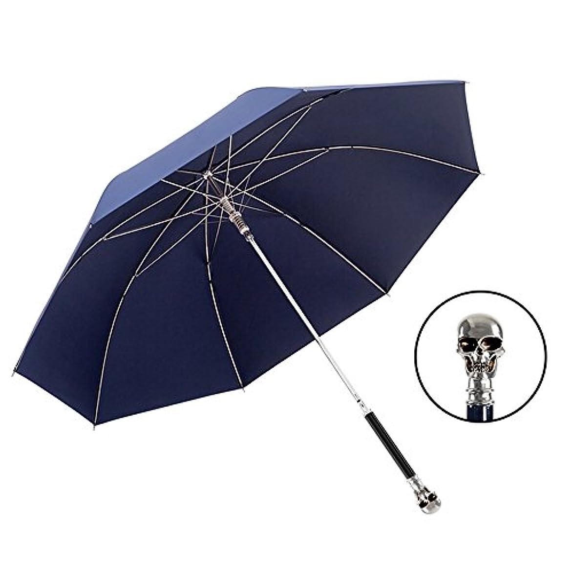 霊エステート苦しみXRXY 創造性ヒョウの頭/ロングハンドルの傘/シンプルな純粋な男性のパーソナリティコマースのパラソル/デュアルユースの高級サンの傘 ( 色 : Dark-Blue , サイズ さいず : C )