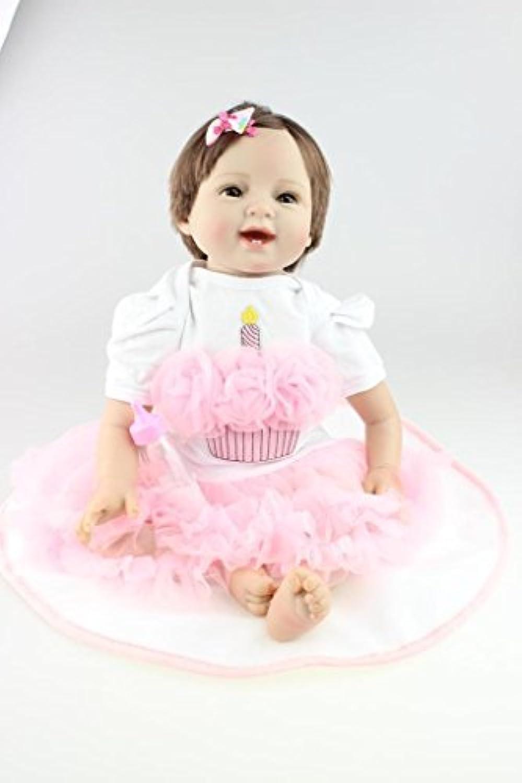 Nicery 人形 Babyリボーンベビードールソフトシリコン22インチ55センチメートル磁気口ラブリーリアルなかわいい少年少女の玩具は、プリンセスピンクロングヘアスマイル Reborn Dolls JP