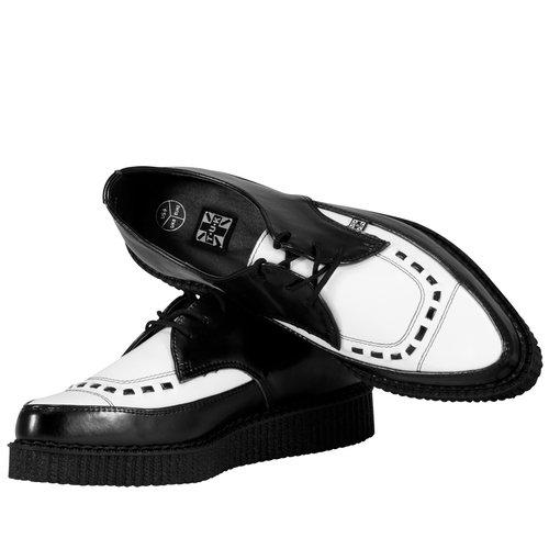 【雑誌KERA掲載品】 T.U.K. ティーユーケー  ユニセックス  A8140 Black & White Leather Pointed Creeper Shoes シューズ (参考日本サイズ24cm: 7B(M)US Women:US Mens 5)