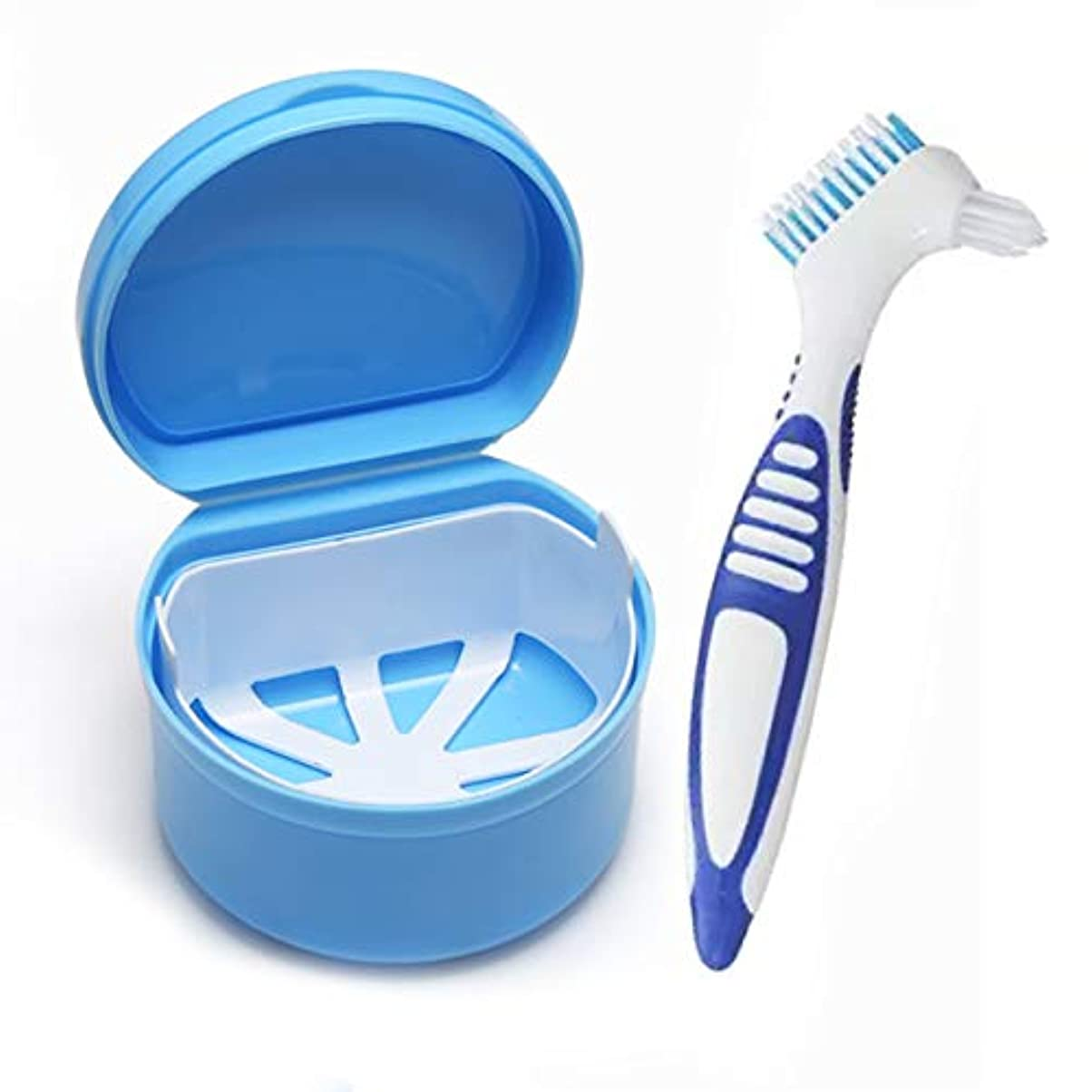 入れ歯ケース 入れ歯収納 義歯ボックス 義歯収納容器 リテーナーボックス 旅行用 携帯用 ポータブル 防水 軽量 (入れ歯ケース+入れ歯用ブラシ)セット (青い)