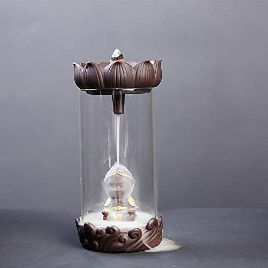 眠る服を片付ける敵対的防風ガラス逆流香バーナーセラミックロータスピュアハンドクラフトセラミックバーナー滝効果アロマセラピー炉18.5 * 9.2 cmを返す