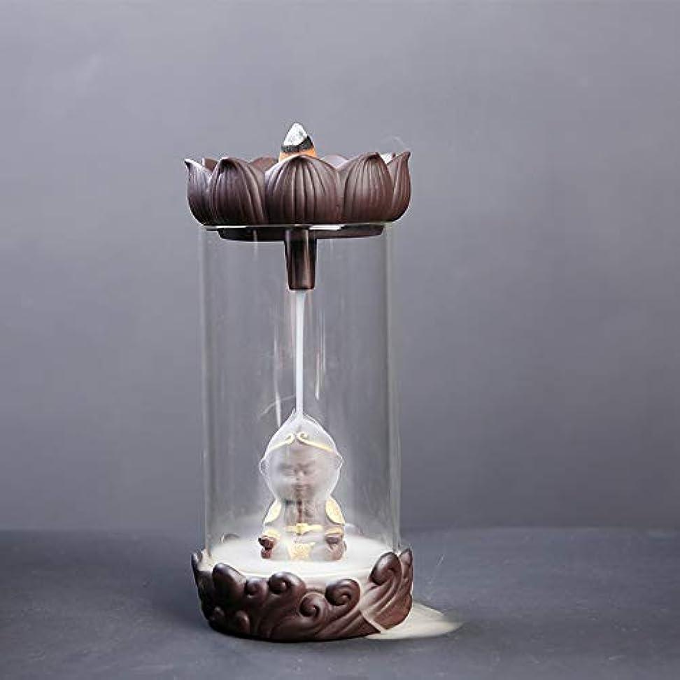 確認してくださいゆりかご放射する防風ガラス逆流香バーナーセラミックロータスピュアハンドクラフトセラミックバーナー滝効果アロマセラピー炉18.5 * 9.2 cmを返す