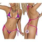 EVAbaby Sexy Women Halter Micro Bikini Set Lingerie Cut Out Cup 2 Piece Extreme Mini Tie Seamless Silk Swimsuit