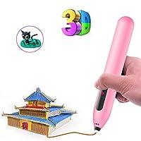 3Dプリントペン立体絵画用立体印刷クリエイティブクラフトペンインテリジェントデッサンモデリング安全で便利な3次元知的開発,Pink,1500mAh