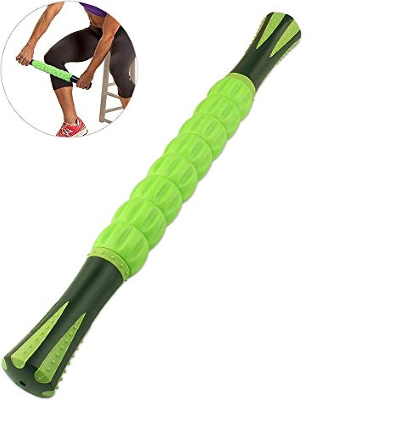槍債務誤解するアスリートランナー向けのマッスルローラースティック、マッスルマッサージローラーツールは、足と体の背中の回復マッサージに役立ちます,Green