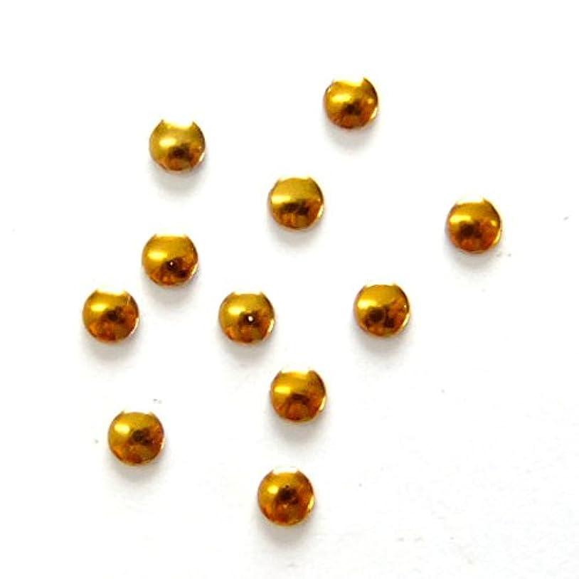 エキサイティング飼料ケーブルミスティックフレース ネイル用ストーン メタルスタッズ サークル 2mm ゴールド 50P