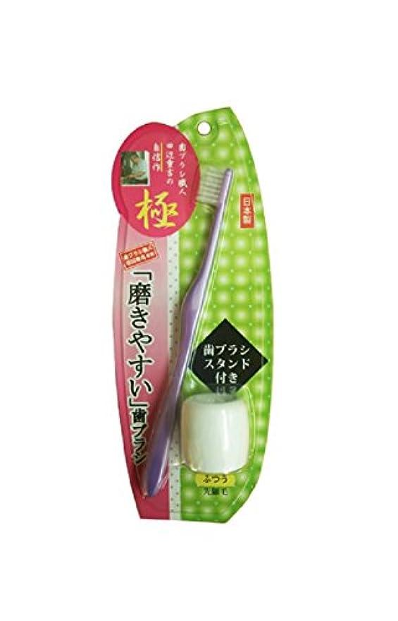 削る寄付抜け目のない磨きやすい歯ブラシ極 先細毛 歯ブラシスタンド付 LT-23 パープル