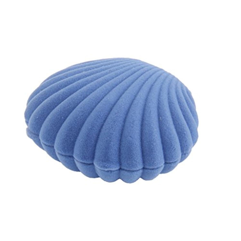 【ノーブランド品】ベルベット貼 ネックレス ジュエリー ディスプレイ ボックス ギフトケース 貝殻型 (ブルー)
