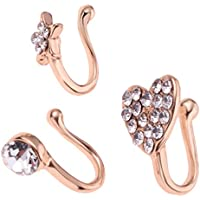 HOMYL 3 Pieces Girl Charm Flower Heart Pentagram Crystal Metal Women Nose Rings