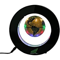 Magnetic Levitation Floating World Map Globe with LED Lights for Learning Education Teaching Demo Home Office Desk Decoration (Circle + Gold Globe) [並行輸入品]