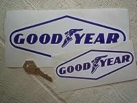 GoodYear Blue on White Diamond Stickers グッドイヤー タイヤ ロゴ ステッカー シール デカール 150mm × 60mm ブルー&ホワイト 2枚セット [並行輸入品]