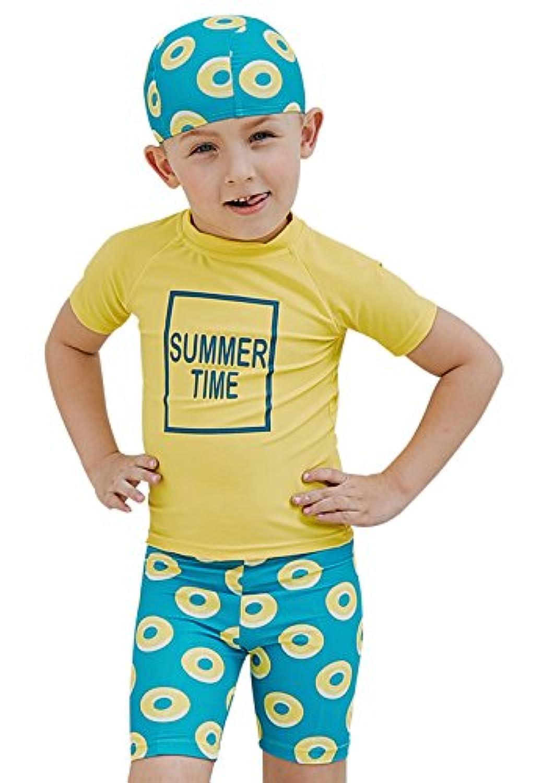 sabolay Kid Boy UPF 50 + UVラッシュガードセット半袖スーツ水着キャップ付き