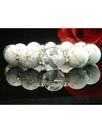 AAAランク16ミリ数珠/ブレスレット ( 手彫り銀風水四神獣クリスタル?ハウライト?ロンデル) Lサイズ内周17.5cm前後