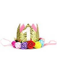Huele Baby Girls Glitterゴールドプリンセスクラウン最初誕生日帽子ヘアアクセサリーwith人工ローズフラワー