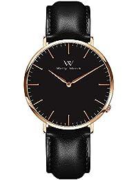 WM スイスブランド 腕時計 人気 メンズ men watch超薄型 ビジネス プレゼント 42MMブラック文字盤 20MM交換可能本革ベルト カコイイ ファション 5ATM防水 (並行輸入品)